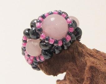 Gemstone Bead Woven Ring, Pink Jade, Gunmetal Black, Hot Pink, Boho size 6.5 - 7
