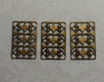 "Vintage gold rectangular filigree,7/8th""x1/2"",3pcs-FLG05"