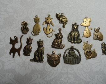 """Vintage gold plate brass stamped and solid cat charms,1/2""""to 1"""",15pcs-CHM165"""
