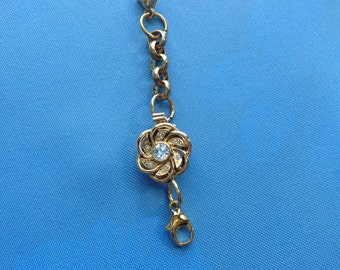 Extender, Gold Plated, Bracelet or Necklace, Floral, 2 7/8 inches, 70 mm, Heavy Chain