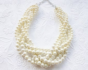 Chunky Pearl Necklace, Pearl Statement Necklace, Ivory Pearl Necklace, Braided Pearl Necklace, Bridal Necklace
