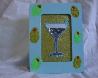 Hand painted martini picture frame.