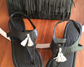 Black Snake Skin Sling back Sandals>Genuine Leather>White Tassel>beach>boho>festival>fun>summer>trends>wedding>ideas