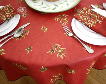 """72"""" to 130"""" Rectangular or Oval Coated Tablecloth Olives All Over in Red - or Custom made your size - Umbrella Hole & Napkins available"""