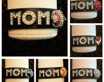 Black Sports MOM Snap Bracelet Baseball Softball Football Basketball Soccer Volleyball