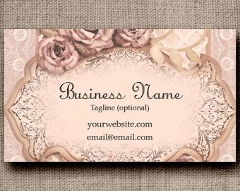 Business Card - Pink Roses and Lace, Customized with your wording, Printable Business Card