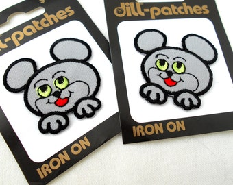 Mouse Applique Iron On Patches - 100% of Profit to Rescue -  Iron On Patch Applique Mouse Rat Rodent Gray Pet Cute