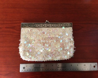 ON SALE Vintage hand beaded sequin clutch