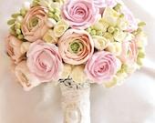 Bridal bouquet, Wedding Alternative bouquet, Ranunculus roses bouquet, Shebby chic, gentle pastel color bouquet Realistic flowers