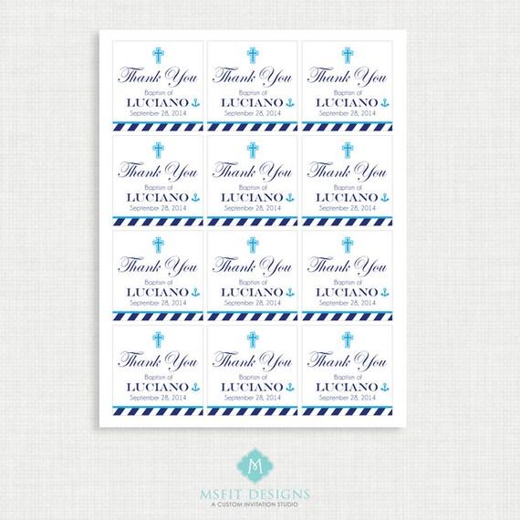 Printable Baptism Favor Tags - Nautical Favor Tags - Thank You Tags - Christening - Party Tags- Digital Printable - Anchor