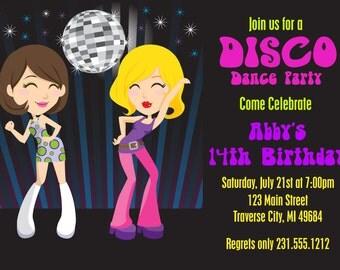 Dance Party Invitation - 70s Disco Invitations - Printable Disco Ball Birthday Invitation