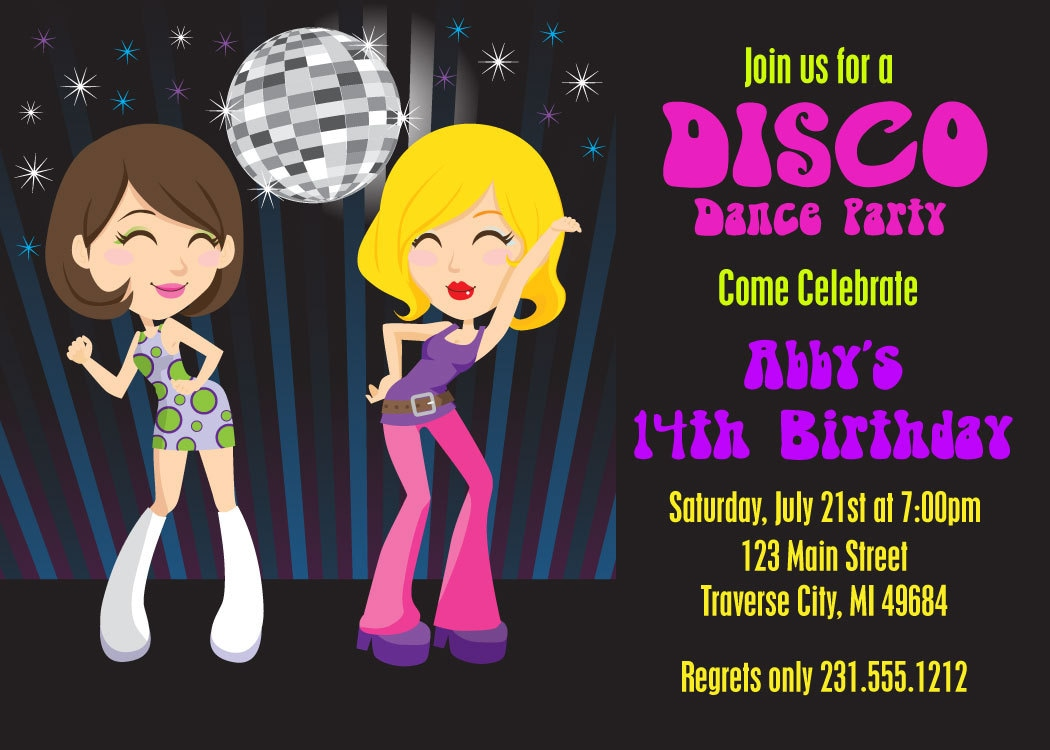 Dance Party Invitation 70s Disco Invitations Printable