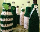 St. Patrick's Day Beer Koozie, Party Favors, Crocheted Beer or Soda Bottle Koozie, Sweater, Made to Order for Your Party