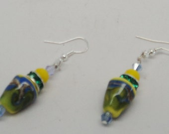 Colorful Blue Yellow Green Swirl Lampwork Bead Blue Yellow Swarovski Crystal Bead Green Rondelle Wire Wrap 925 Sterling Silver Ear Wire