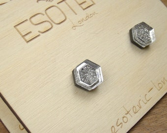 Silver Hexagon Geometric Glitter Resin Stud Earrings