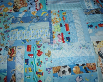Boys Blue Quilt  - Backside is Cowboys riding horses on blue