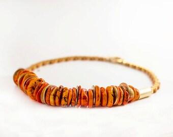 Orange shades necklace - Calaite necklace - short necklace