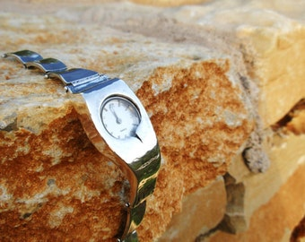 Handcrafted Sterling Silver Watch Bracelet, Unique Design by Poran, Artistic Jewelry, Israel