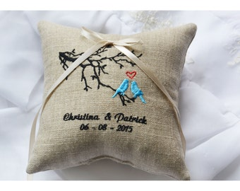 Wedding lovebirds pillow,  Ring Bearer Pillow , Linen wedding ring pillow with birds, ring bearer pillow, embroidery wedding pillow (R107)