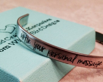 SALE!!  Personalized cuff bracelet hand stamped custom wording mom mother daughter wife military custom cuff bracelet rose gold bracelet