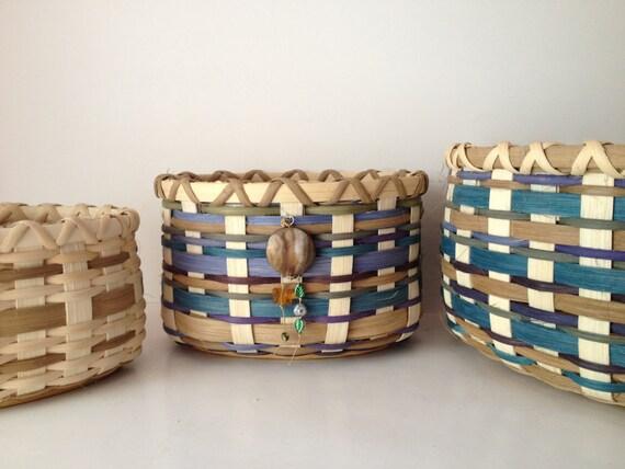 Basket Weaving Dyed Reed : Handmade basket colorful hand dyed reed finished pine base