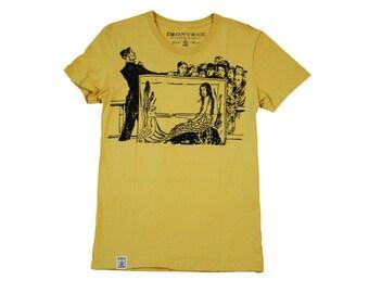 Japanese Mermaid in Aquarium:  Women's Organic Fine Jersey Short Sleeve T-Shirt in Mustard
