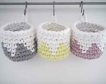 Crochet Hanging Basket-Small Storage Baskets-Office & Desk Storage Baskets-Hanging Baskets-Eco Friendly Storage Basket-Desk Organizer Basket