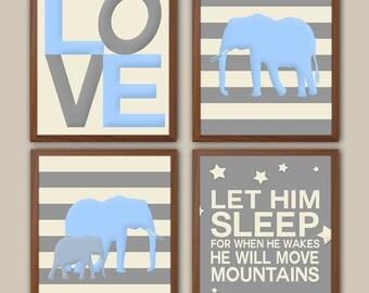 Elephant Nursery Art - Baby Elephant Decor - Baby Boy Nursery - Baby Blue - Striped Nursery Art - Nursery Quote - Love Nursery Art Set Of 4