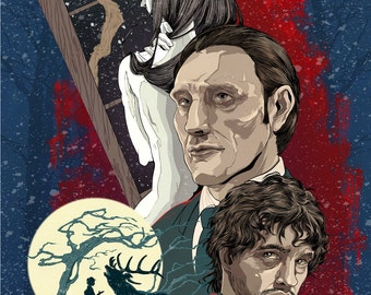 Hannibal Lecter and Will Graham from NBC's Hannibal Poster