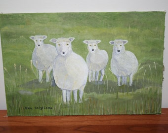 Sheep Oil Painting 12x8""