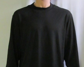 Black Knit Crew Neck Mens Size S M L XL XXL Big and Tall Extra Long