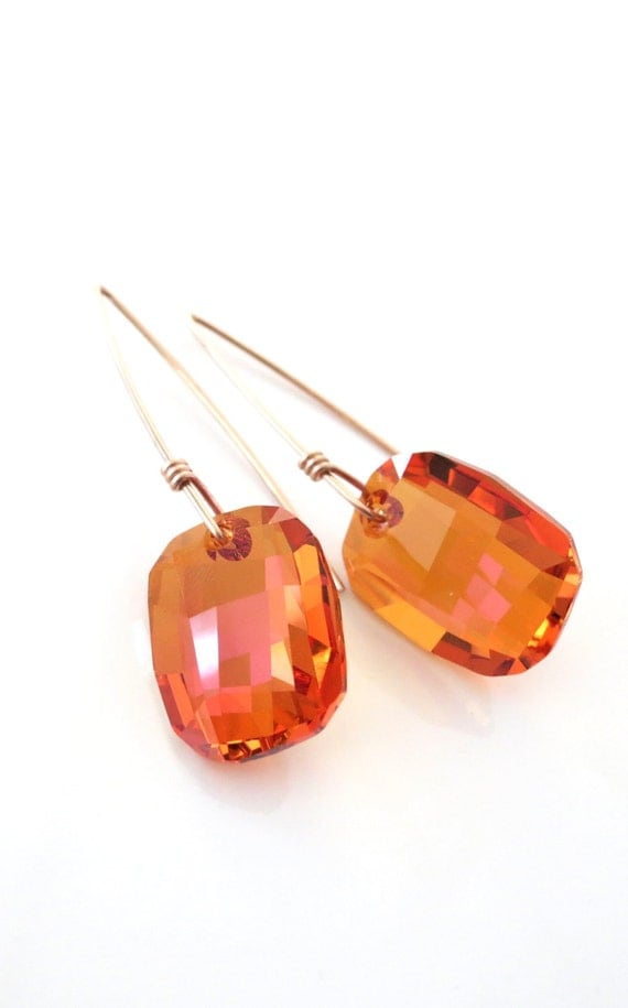 Rose Gold Filled Swarovski Astral Pink Crystal Drop Earrings - hand wired earrings, long earrings, love, quirky, wire, handmade -E0008RG