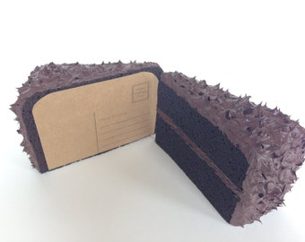 Chocolate Cake 3D Postcard - Mailable Faux Food Frosted Realistic Slice of Cake Mail