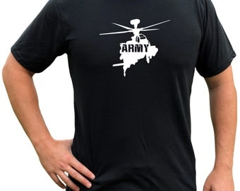 MILITARY HELICOPTER TSHIRT   Army Tactical Triblend Soft Vinyl Tshirt   Shirt With Helo   Helicopter Military Shirt   Air Force Military m06
