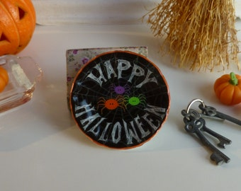 Happy Halloween Colorful Spiders Plate for Dollhouse