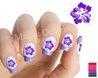 Water Slide Nail Decals, Stickers, Nail Art Transfers, Hibiscus