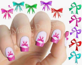 Nail Decals, Water Slide Nail Transfers Stickers, Holiday Bow