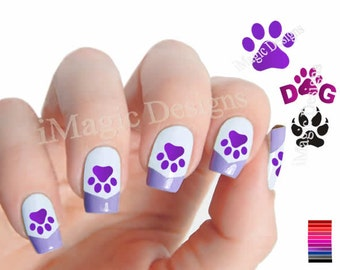 Waterslide Nail Art Decals, Nail Stickers, Dog Paw Prints