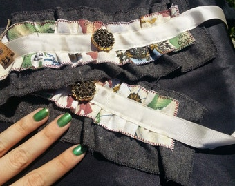 Grey, Mapped, and Cream Wrist Ruffle Cuffs with Buttons