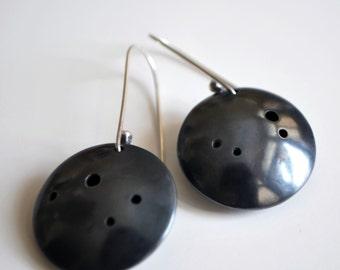 Oxidized Silver Earrings, Black Earrings, Black Jewelry, Silver Earrings