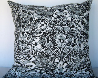 Cool grey/Black Pillow Cover. Shiloh grey pillow cover. Grey and white Pillow Cover.
