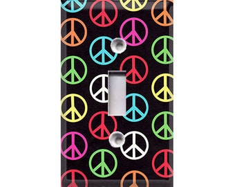 Colorful Peace Signs Light Switch Cover