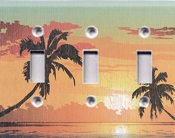 Tropical Sunset Triple Light Switch Cover