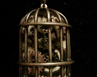 Steampunk Inspired Birdcage with Clock Gears and OPTIONAL Wishbone