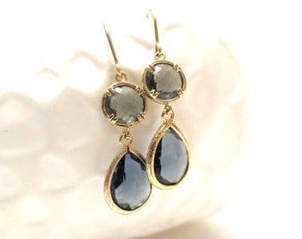 Navy Blue Earrings Grey Earrings Gold Earrings Navy and Grey Wedding Navy Wedding Jewelry Blue Bridesmaid Earrings Sapphire Blue Crystal Gem