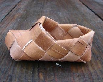 Birch bark basket / Sweden shoe basket / Old handmade birch bark shoes / handwoven birch bark container box / Rustic wall hanging cont
