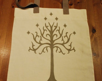 Handmade shopper with the White Tree of Gondor 100% cotton