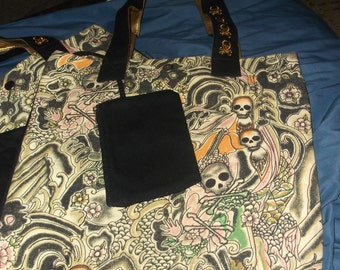 Tote bag styled with idea of New Orleans Jazz Funeral/Skeleton
