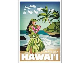 "Hawaiian Hula Girl ""Aloha from Hawaii"" Poster"
