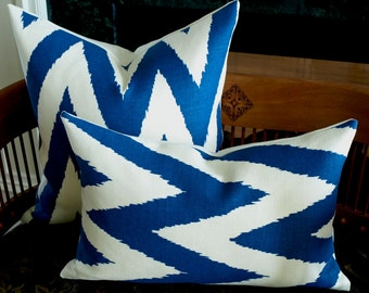 Quadrille TASHKENT Designer Pillow Cover in Royal Blue on Oyster Lumbar, Chevron Accent Pillow, Toss Pillow, Throw Pillow, Many Sizes